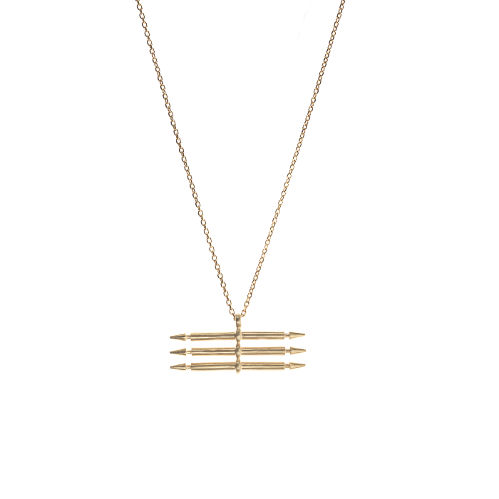 tripple-spear-necklace-gold