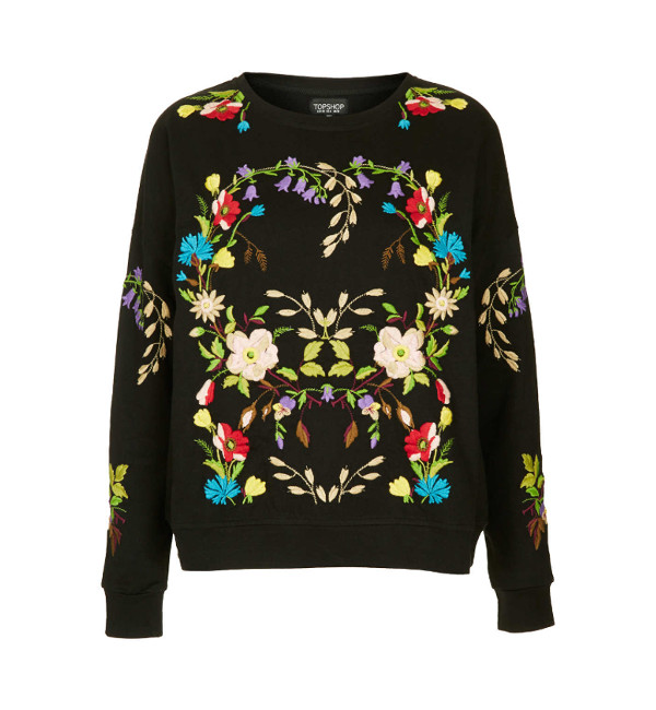 Topshop FLORAL EMBROIDERED SWEATSHIRT 4e