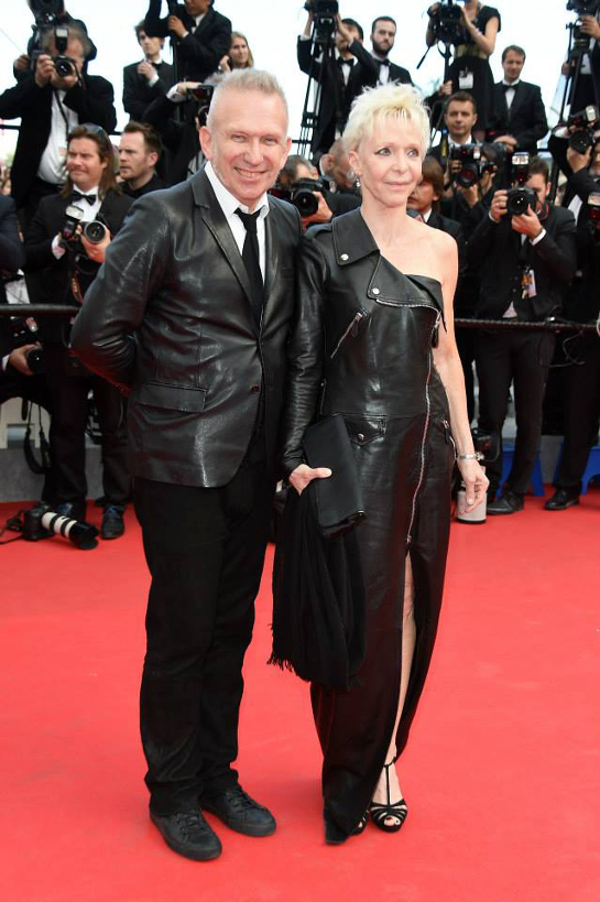 Jean Paul Gaultier and Tonie Marshall attend the Saint Laurent Premiere