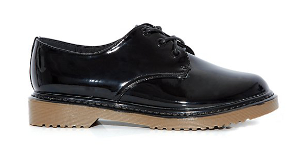 Black Patent Chunky Lace Up Brogues Newlook 24.99£